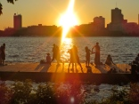 Boston waterfront @ sunset - people were dancing on the dock